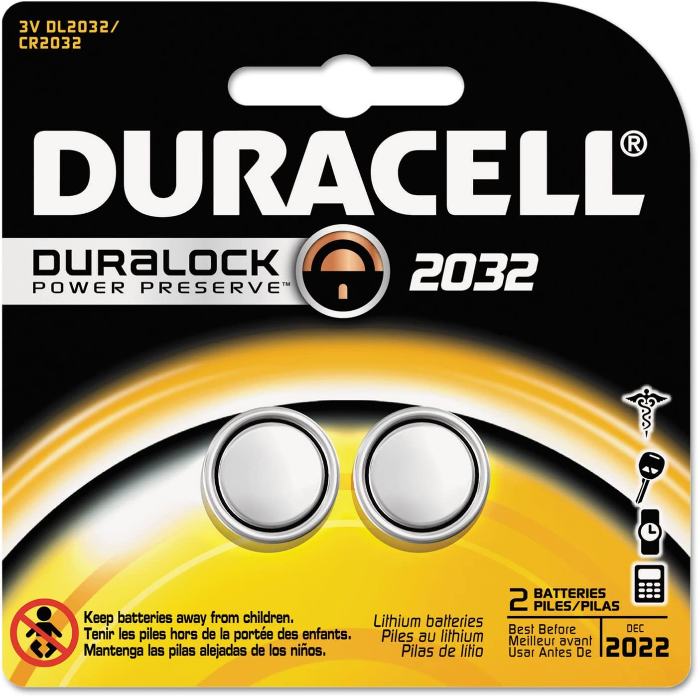 Duracell DL2032B2PK Lithium Medical Battery, 3V, 2/Pk