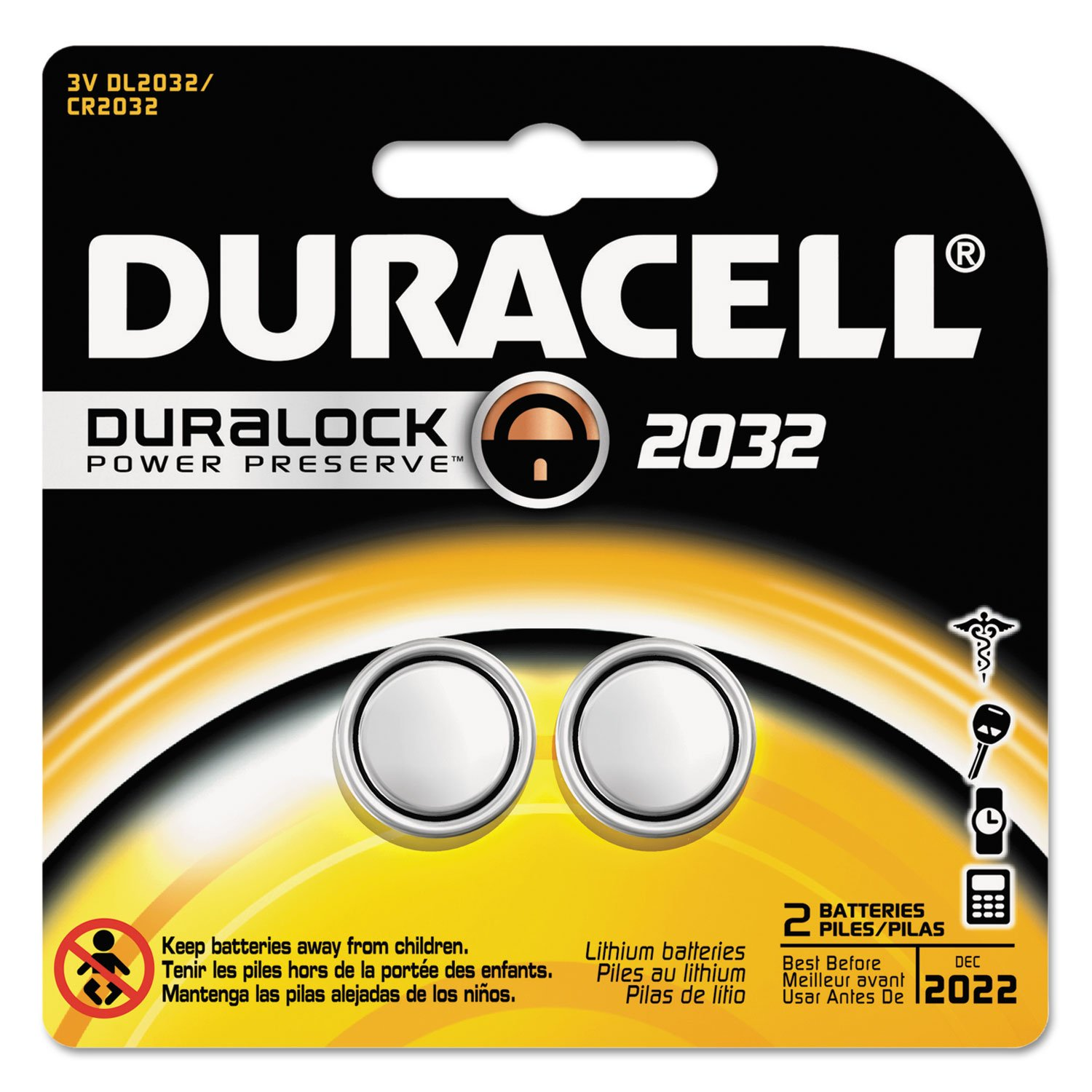 Duracell Medical Battery Cr2032 3 V Model No. 2032 Pack Of 2 DURACELL PRODUCTS COMPANY 4330210165