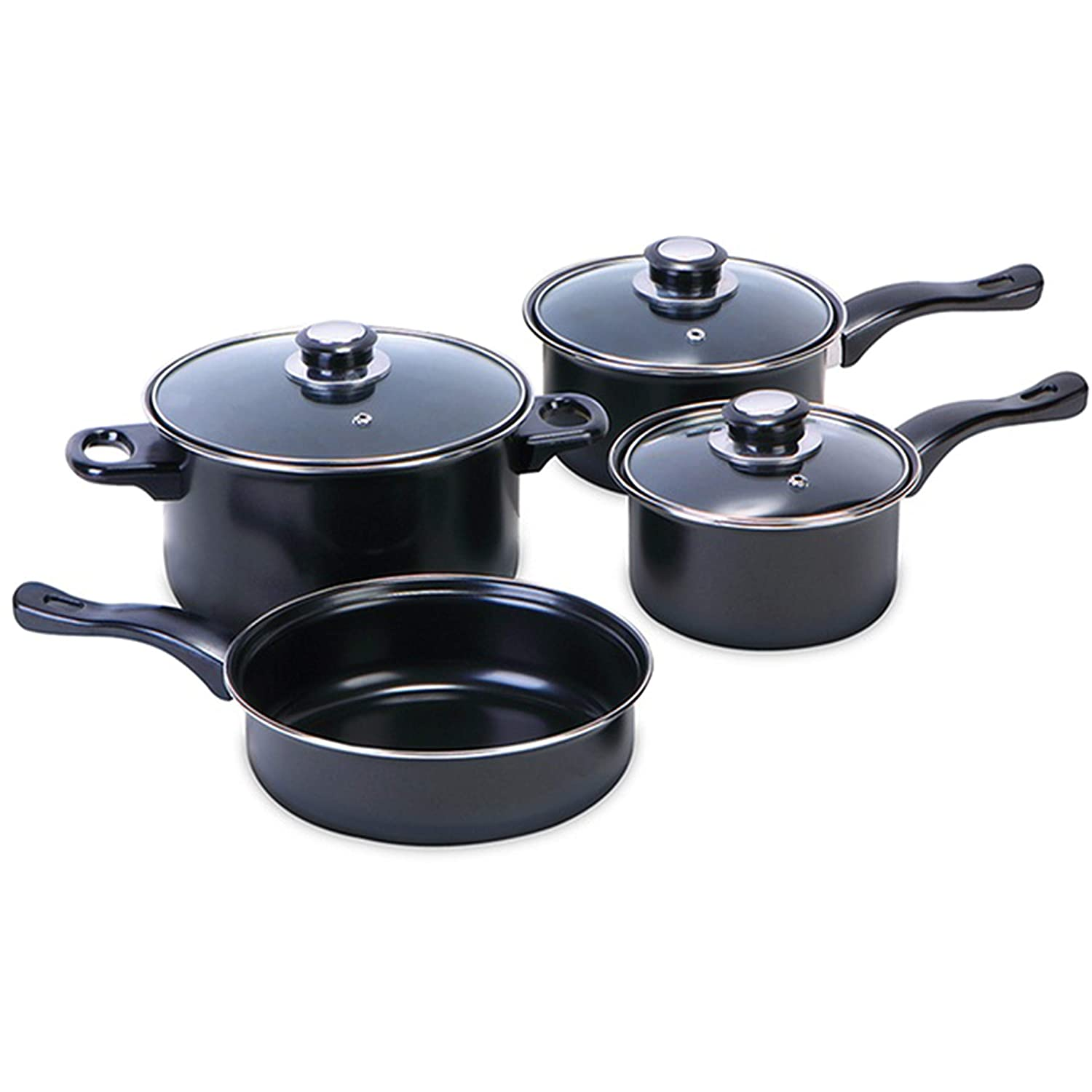 7 Pieces Carbon Steel Non-Stick Cookware Set - Sauce Pan, Frying Pan, Stockpot Casserole Dutch Oven with Glass Lid GEEZY