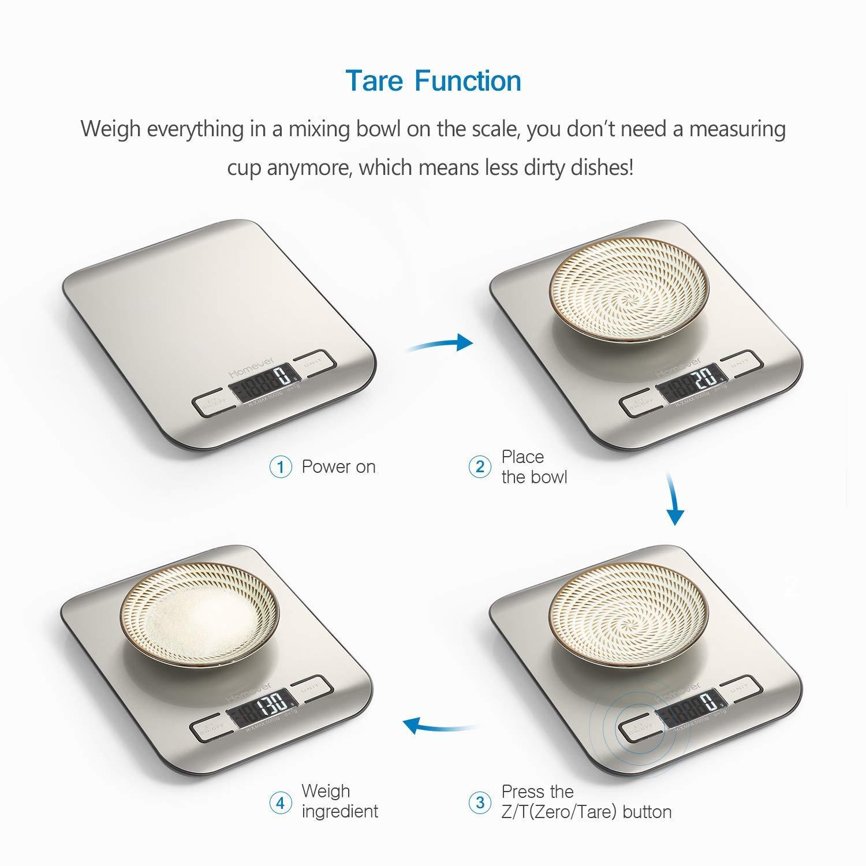 Plus Large Plate-Forme Acier Inoxydable Balance num/érique de Cuisine de Haute Pr/écision Fonction Tare LCD R/étro/éclair/é Homever Balance de Cuisine /Électronique Auto-arr/êt,5kg//11lb