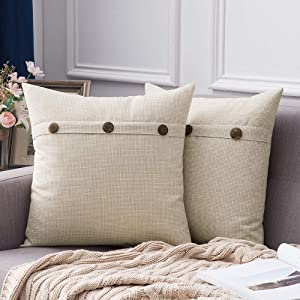 MIULEE Set of 2 Linen Throw Pillow Covers Cushion Case Triple Button Vintage Farmhouse Pillowcase for Couch Sofa Bed 20 x 20 Inch 50 x 50 cm Beige