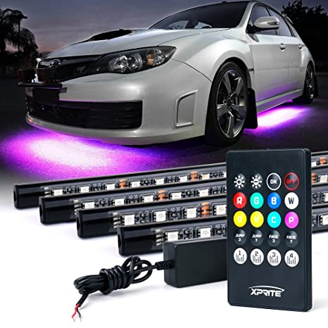 Amazon xprite car underglow underbody system neon strip lights xprite car underglow underbody system neon strip lights kit w sound active function and wireless aloadofball Images