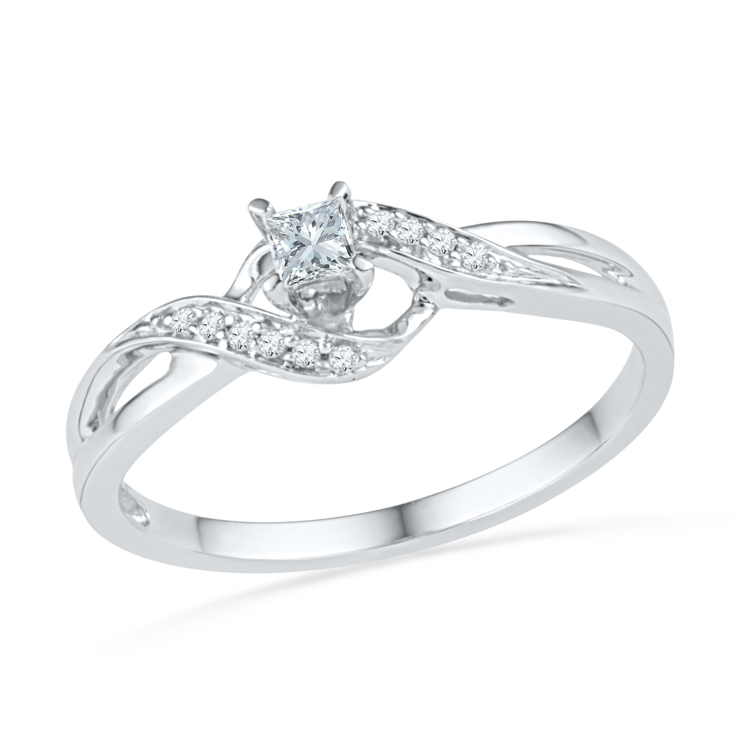 10KT White Gold Princess and Round Diamond Promise Ring (0.13 CTTW) by D-GOLD