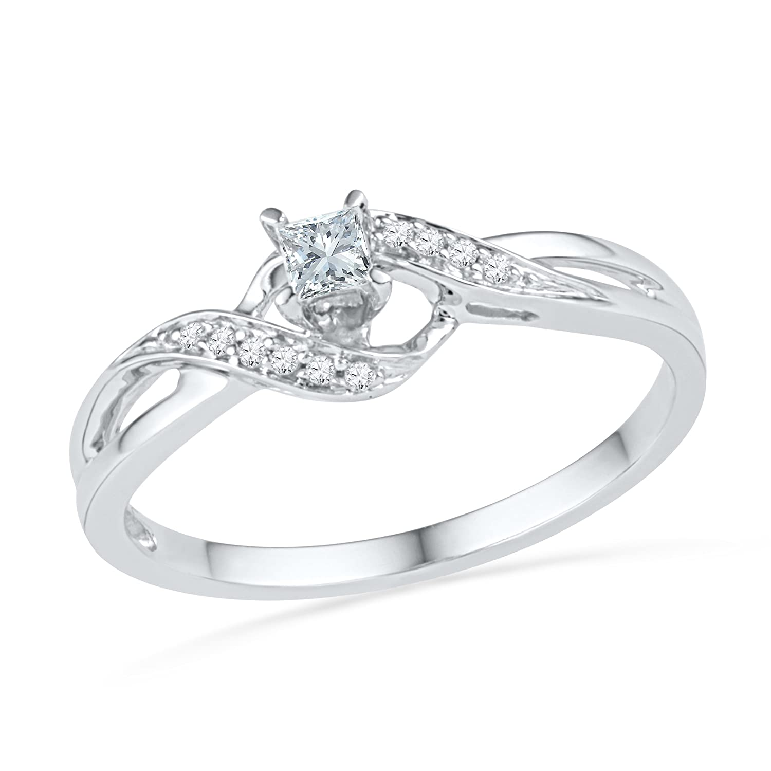 Amazon 10KT White Gold Princess and Round Diamond Promise