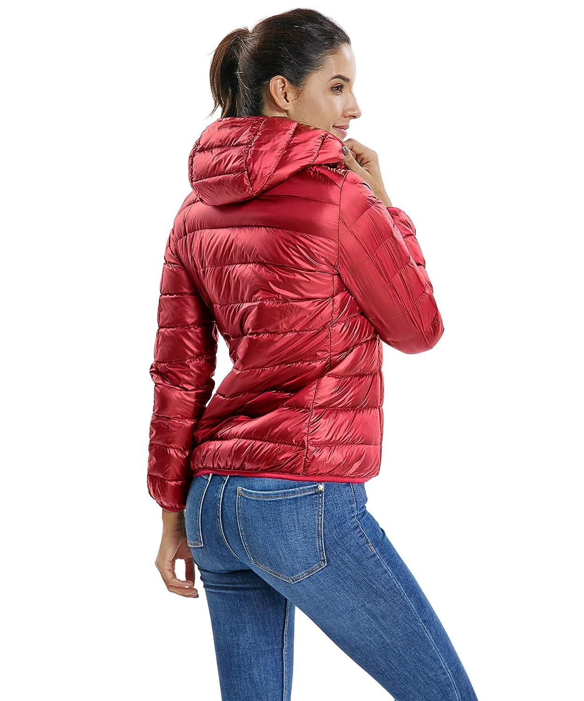 CFR Womens Lightweight Down Jacket Winter Packable Classic with Hood Short Down Puffer Coat
