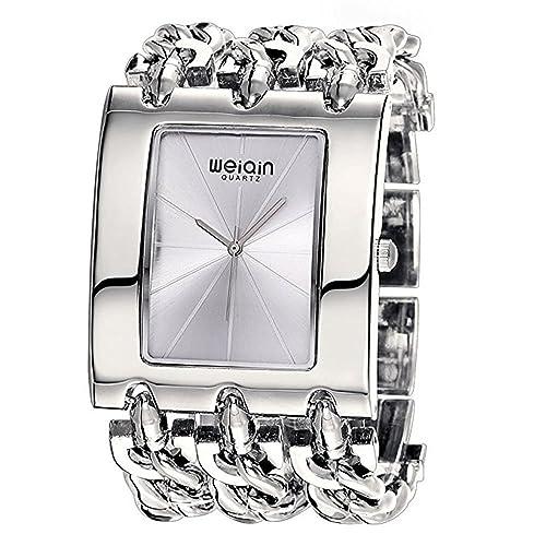 Mode Quadratische Gehäuse Edelstahlarmband Quarz Armbanduhr Für Damen