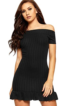 35fb021b1ef2 WearAll Women s Ribbed Bardot Off Shoulder Ruffle Frill Hem Ladies Stretch  Bodycon Dress - Black -