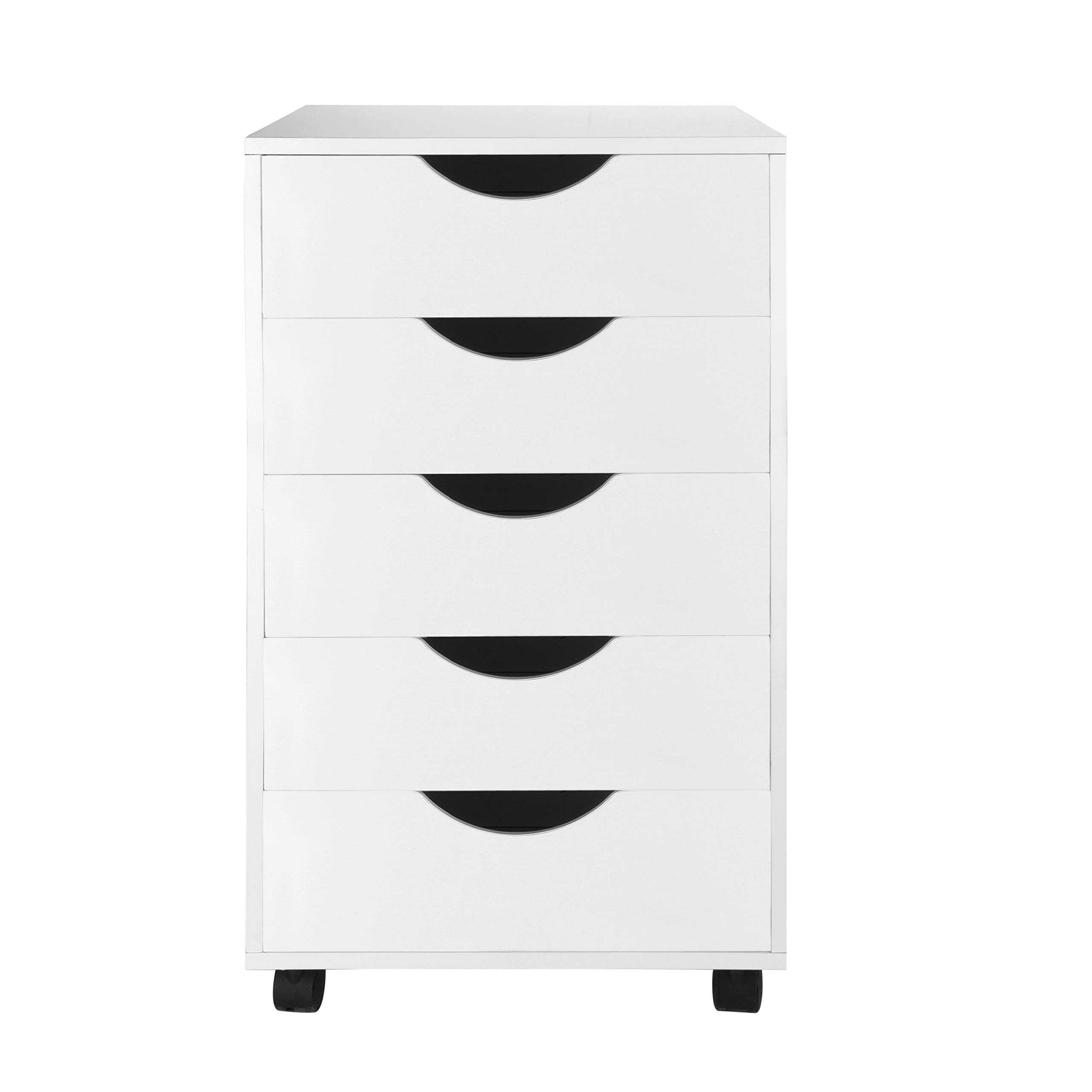 eMerit 5 Drawer Wood File Cabinet Roll Cart Drawer for Office Organization White by EMERIT (Image #2)