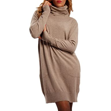 Young Fashion Damen Oversize Strickkleid Long Pullover mit Rollkragen