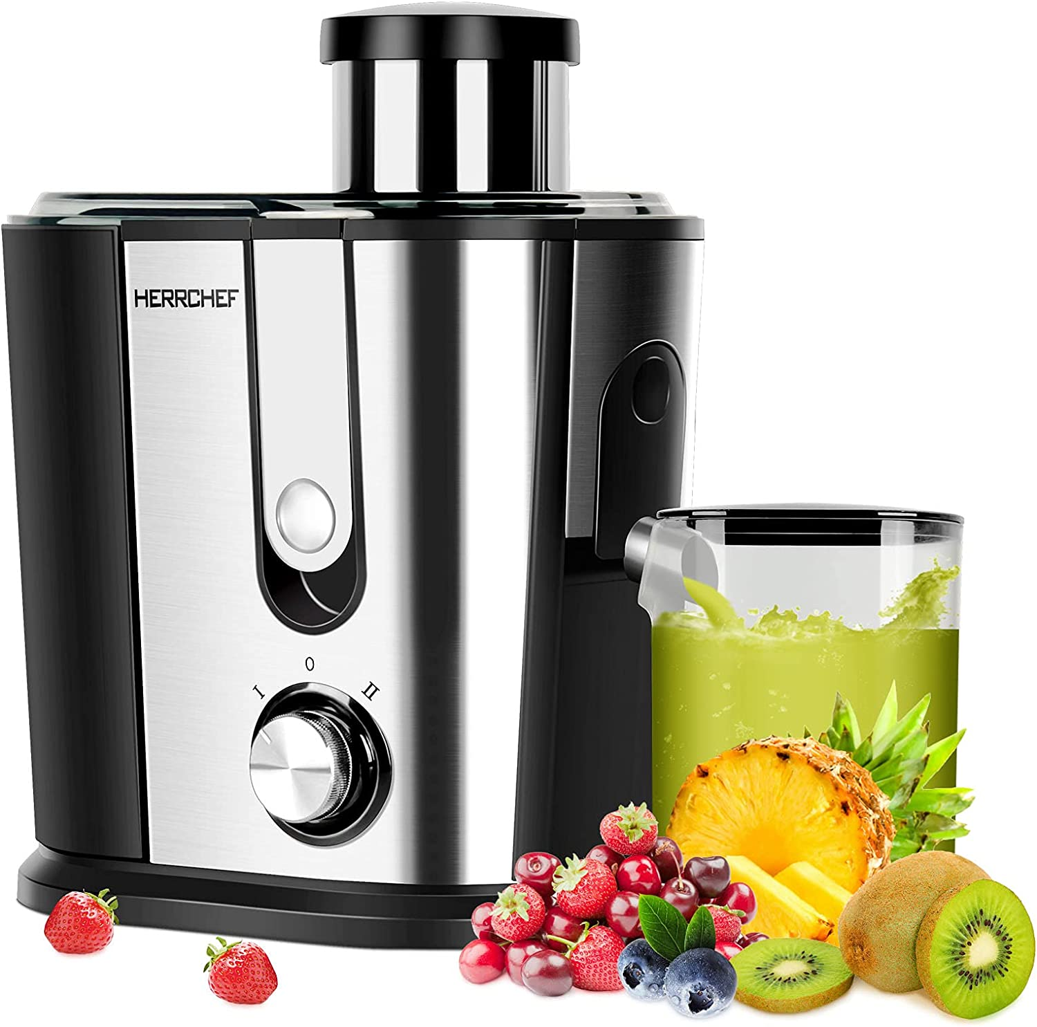Juicer Machines, HERRCHEF 600W Juice Extractor with 3'' Wide Mouth, 2 Speed Stainless Steel Compact Centrifugal Juicer for Vegetable and Fruit Easy to Clean, with Anti-drip, BPA-Free