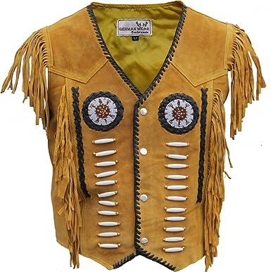 German Wear Western Lederweste Indianer Tracht Weste Reiter Weste Karneval Ocker