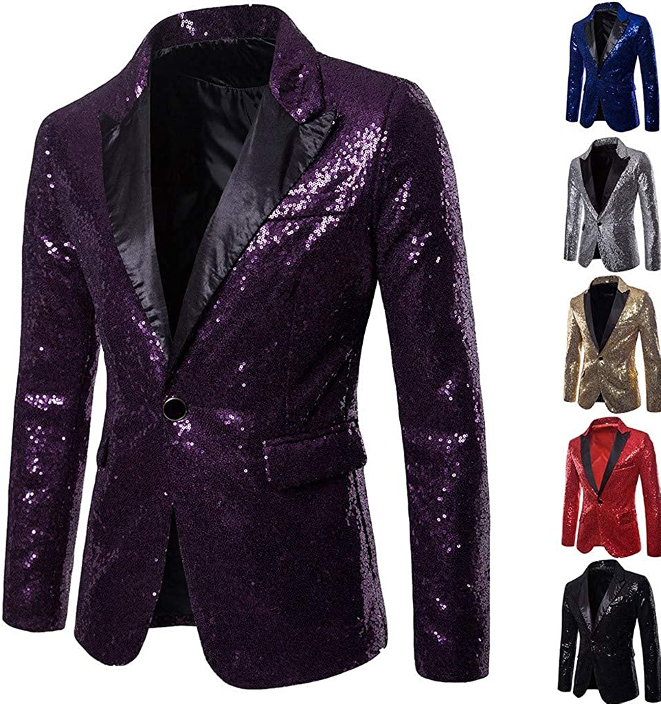 2019 Fashion Casual Sequin Party Top Buttons Slim Fit Coat Performance Jacket OMINA Sequin Blazer for Men