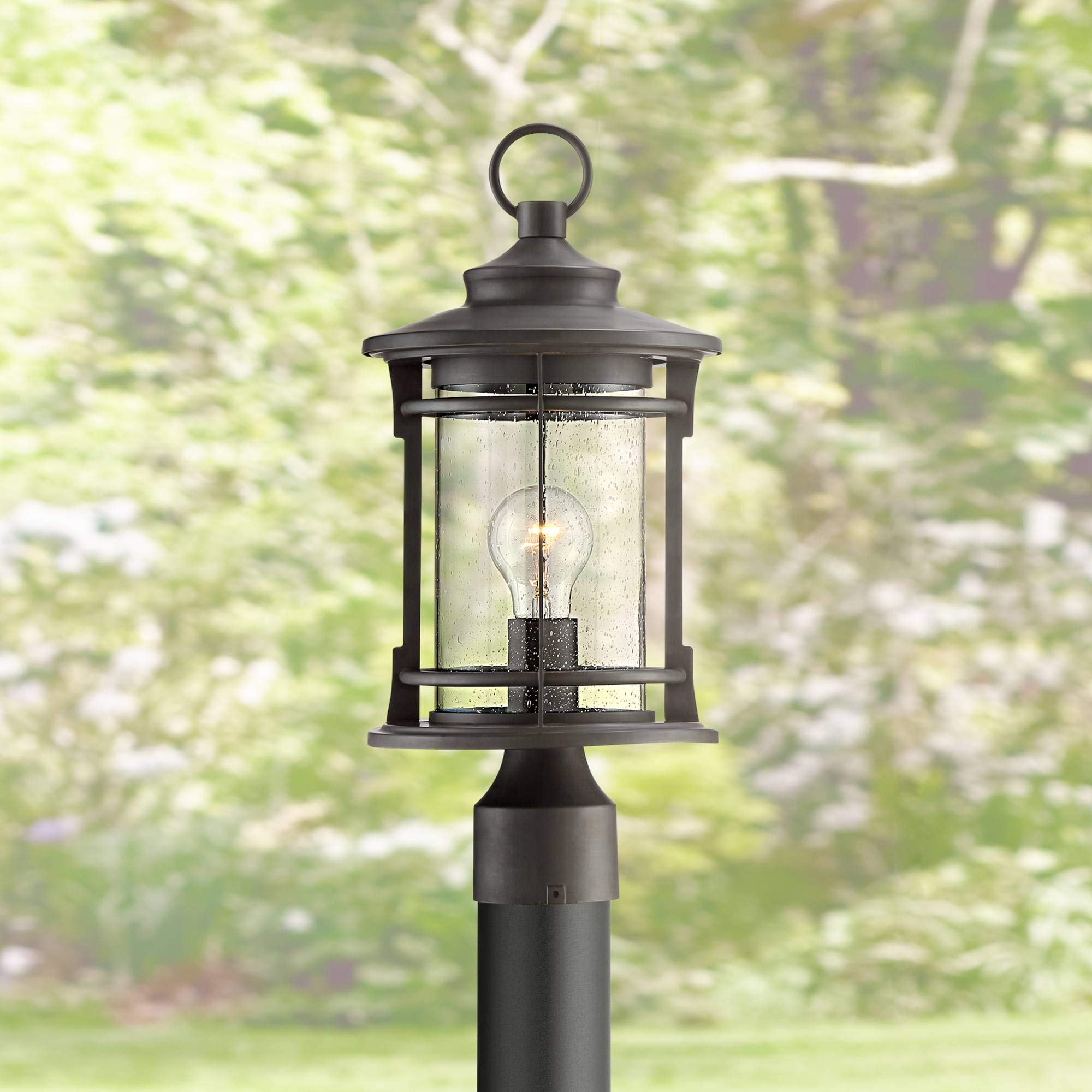 Grenville Outdoor Post Light Fixture Bronze Lantern 17 1/2'' Clear Seedy Glass for Exterior Garden Yard Patio Driveway - Franklin Iron Works