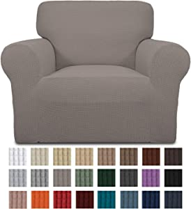 Easy-Going Stretch Chair Sofa Slipcover 1-Piece Couch Sofa Cover Furniture Protector Soft with Elastic Bottom for Kids. Spandex Jacquard Fabric Small Checks(Chair,Taupe)
