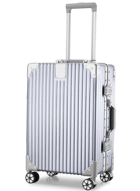 (アスボーグ)ASVOGUE スーツケース キャリーケース TSAロック 半鏡面仕上げ アライン加工 アルミフレーム レトロ 旅行 出張 軽量 静音 ファスナーレス 機内持込可 保護カバー付き B076F4NZVT L|シルバー シルバー L
