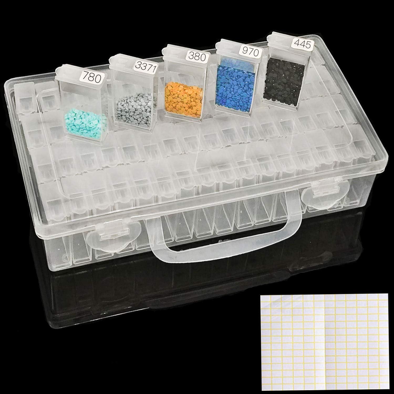 joyer/ía de arte de cuentas de costura pastillas de bricolaje organizador de accesorios azul Sumnacon 30 botellas de almacenamiento de pintura de diamante caja de almacenamiento para bordar