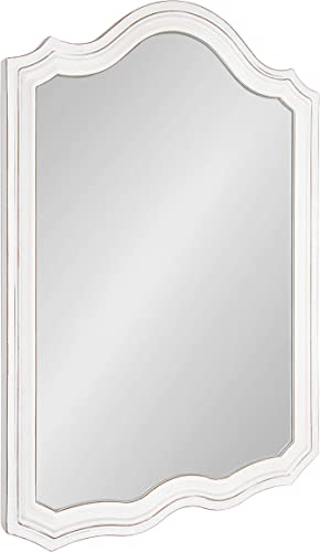 Kate and Laurel Abrianna Decorative Vintage Rustic Farmhouse Arch Shape Wall Mirror, Soft White Finish, 24×36-inches