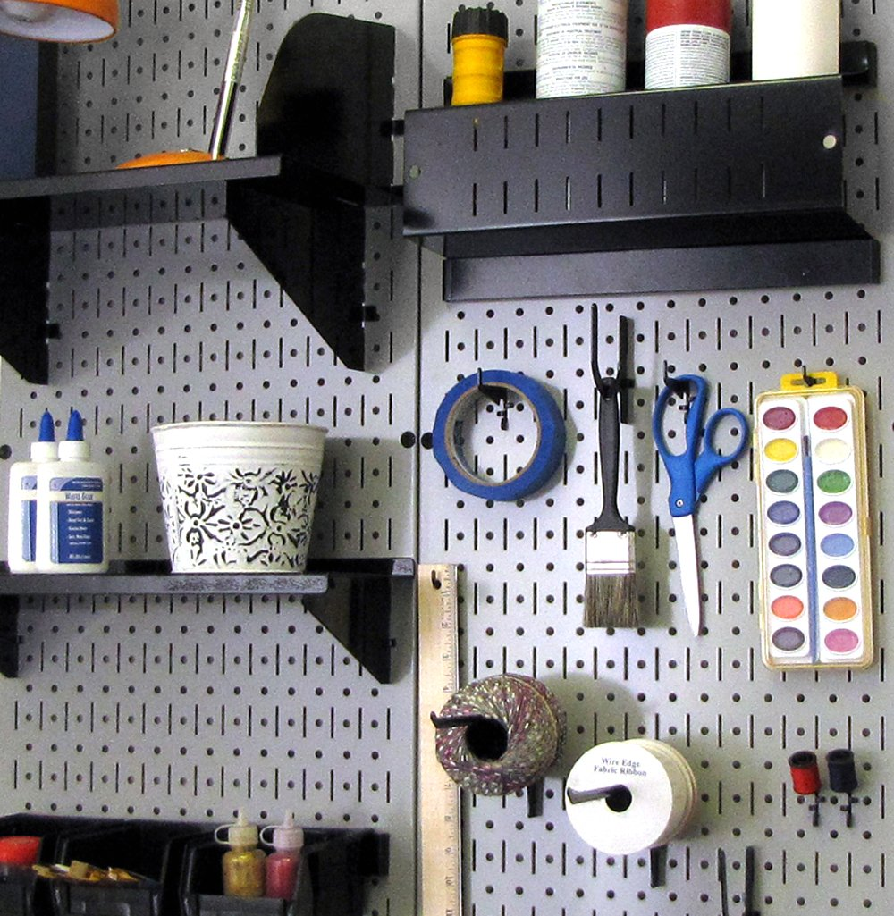 Wall Control Pegboard 32in x 16in Red Metal Pegboard Tool Board Panel