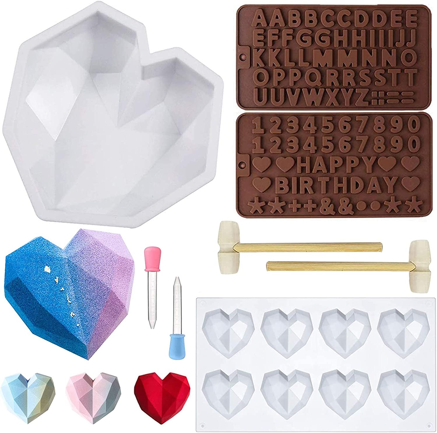 Stosts Diamond Heart Silicone Mousse Cake Mold, 8 Cavities Love Shape Chocolate Mold Tray, Letter and Number Non-sticky Baking Pan with 2 Mini Wooden Hammers Mallets 2 Droppers for Valentine Dessert