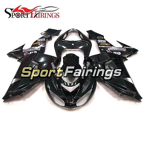 sportfairings Inyección de plásticos ABS brillante negro Kits de carenado para Kawasaki ZX10R año 2006 2007