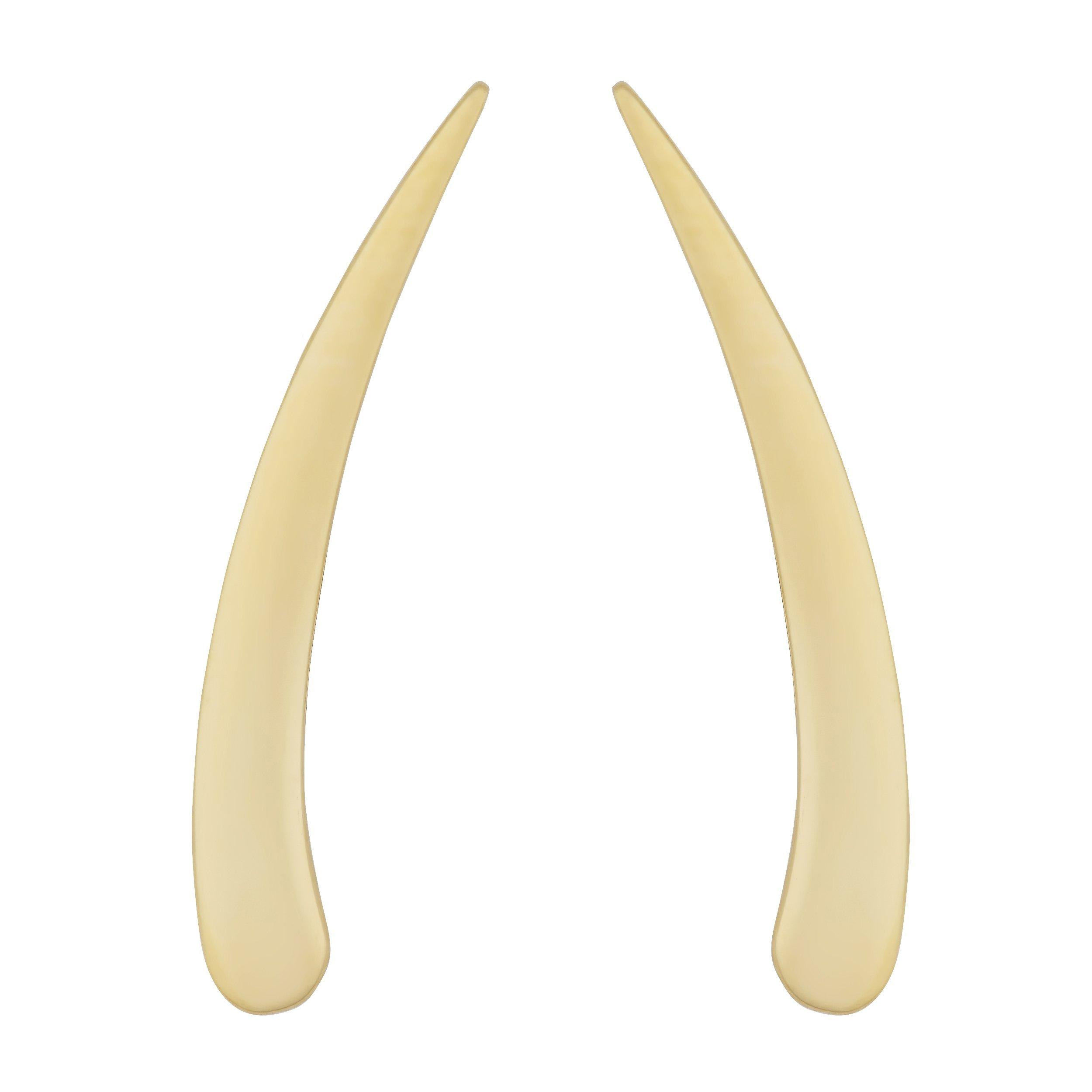 14k Yellow Gold Polished Tusk Climber Earrings by Kooljewelry