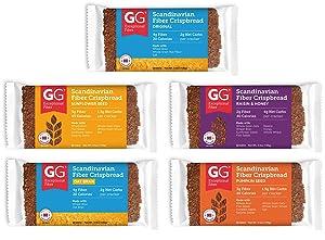 Peaceful Squirrel Variety, GG Scandinavian Crispbread Thins, Pack of 10 (2 of Each: Original, Original with Oat Bran, Sunflower Seeds, Pumpkin Seeds, Raisin & Honey)