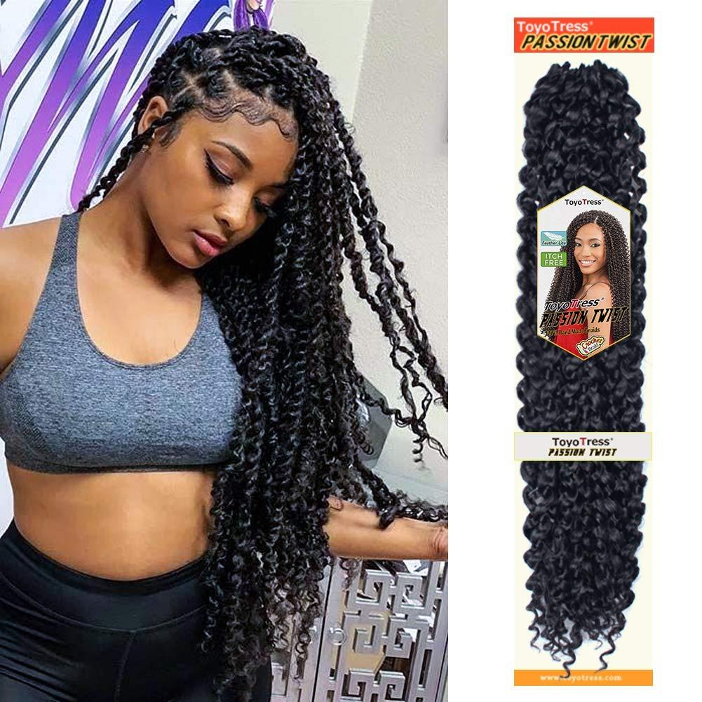 Passion Twist Hair 18 inch 6 packs Water Wave Crochet Braids for Passion Twist Crochet Hair Passion Twist Braiding Hair Hair Extensions by Glinda