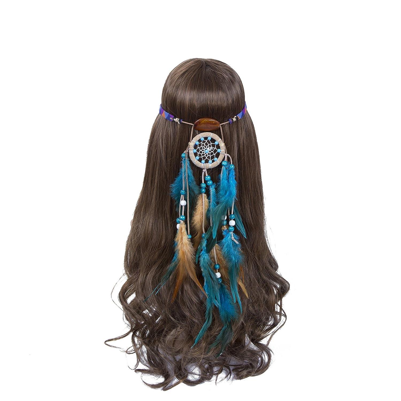 Hippie Headband Feather Dreamcatcher Headdress - AWAYTR Boho Headwear Native Headpiece Hippie Clothes Peacock Feather Hair Accessories (Cream white)