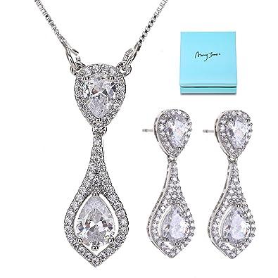 AMYJANE Wedding Jewelry Set for Bride - Elegant Sterling Silver Bridal  Elegant White Sapphire Crystal Cubic 5ef9327bfff9