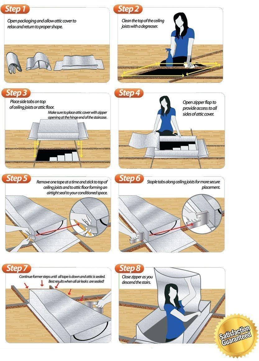 "Smart Attic Tent Insulation Kit for Attic Entry - 25"" x 54"" x 9"" Improve HVAC Efficiency"