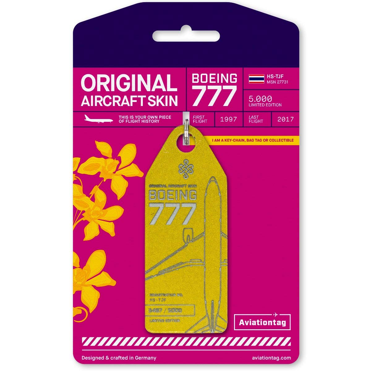 AVT038 AviationTag Boeing 777-200 Reg #HS-TJF (Thai Airways) Gold Original Aircraft Skin Keychain/Luggage Tag/Etc with Lost & Found Feature by AviationTag