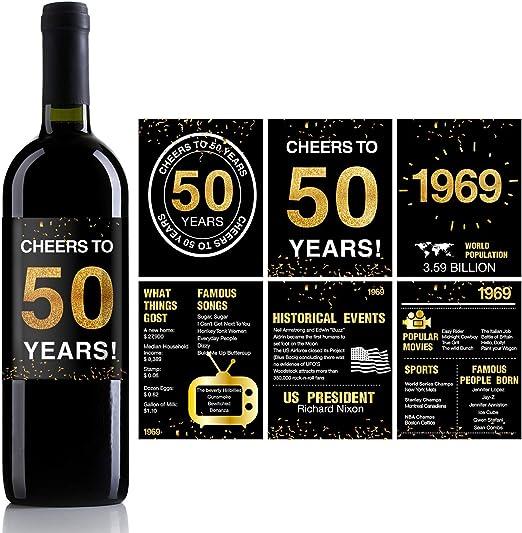 Amazon.com: 50 cumpleaños aniversario botella de vino ...