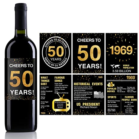 50th Birthday Anniversary Wine Bottle Labels or Stickers Present | 1969  Sign | 50th Anniversary Decorations | Funny Fifty Black Gold Party  Decoration