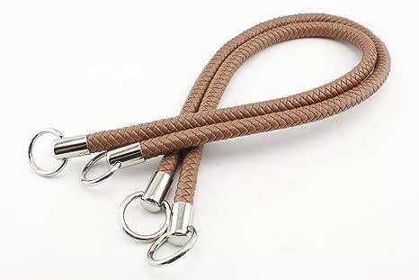 Asas de cuero sintético de ganchillo de 63,5 cm para bolso de mano, bolso, bolso, manija, reemplazo, un par (2 piezas) por lote Nickel hardware Matte ...