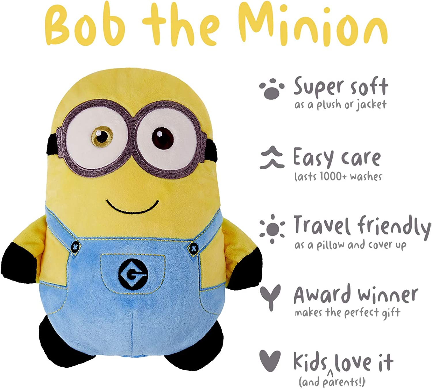 2-in-1 Transforming Hoodie and Soft Plushie Cubcoats Bob The Minion Minion Yellow
