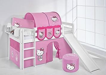 jelle lilokids de jeu pour enfant motif hello kitty rose blanc lit mezzanine enfant