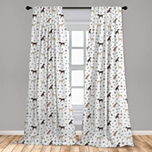 "Ambesonne Dog Lover 2 Panel Curtain Set, Paw Print Bones and Dog Silhouettes American Foxhound Breed Playful Pattern, Lightweight Window Treatment Living Room Bedroom Decor, 56"" x 63"", Umber Beige"