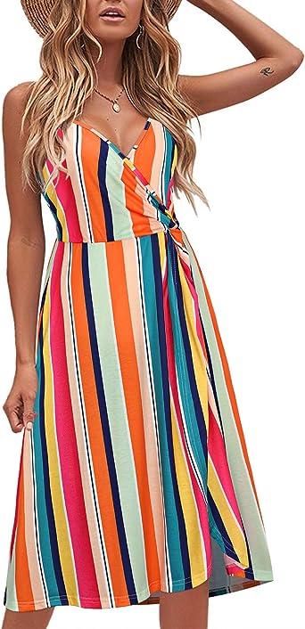KILIG Women's Summer Dress V Neck Floral Twist Knot Pleated Spaghetti Strap Casual Sundress