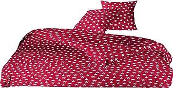 d3b76d7a8b MISTRAL Home Stars Flanell Bettwäsche Stern Sterne Rot Weiß Baumwolle,  Größe:200x200cm Bettwäsche
