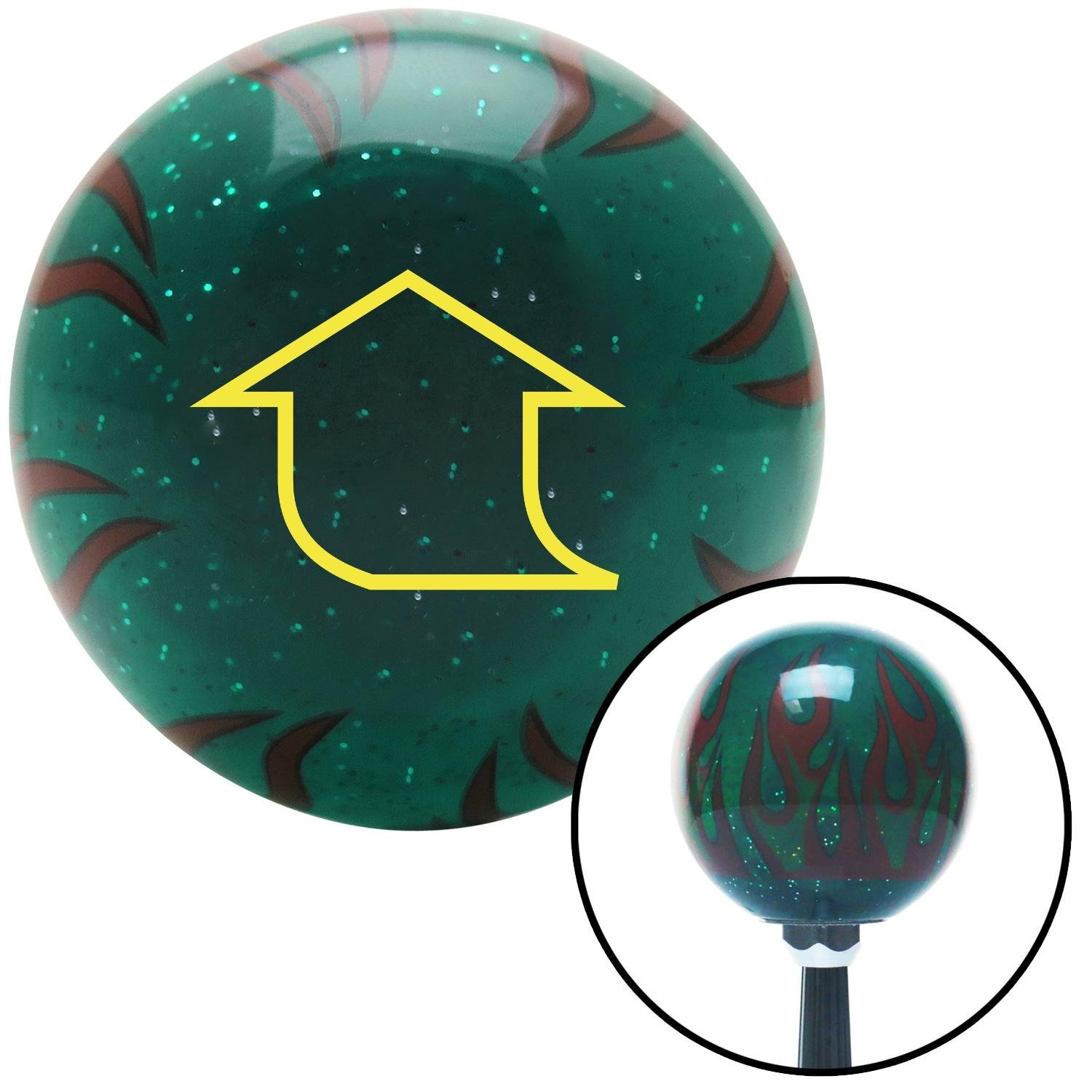 Yellow Fat Empty Arrow Up American Shifter 260975 Green Flame Metal Flake Shift Knob with M16 x 1.5 Insert