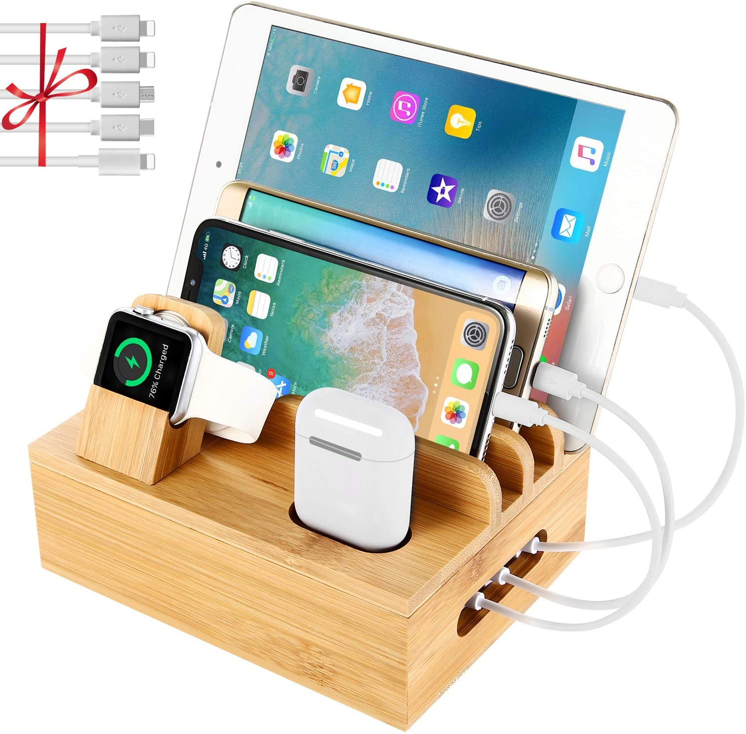 Desk charger organizer with AirPods, an apple watch, phones and a tablet.