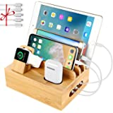 Bamboo Charging Station Dock for 4/5 / 6 Ports USB Charger,Desktop Docking Station Organizer for Cellphone,Smart Watch,Tablet