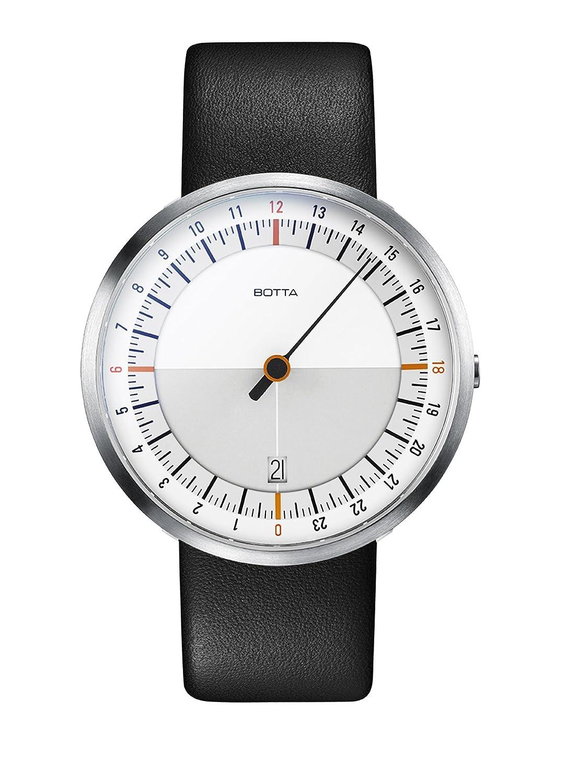 Botta-Design UNO 24 weiß-orange Armbanduhr - 24H Einzeigeruhr - Edelstahl - Saphirglas Antireflex - Lederband