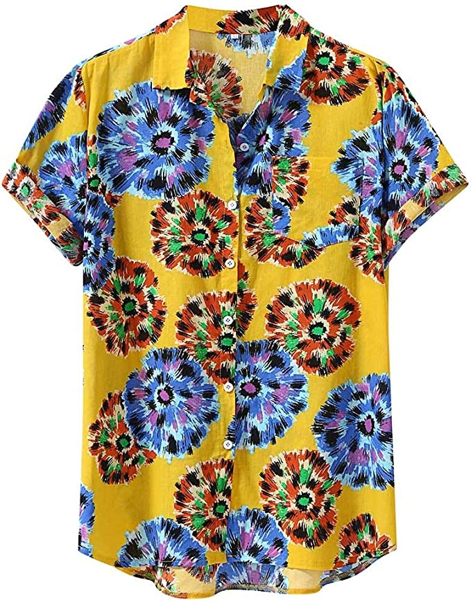 Hawaiian Shirts for Men Casual Button Down Short Sleeve Shirt Mens Flower Tee Blouse