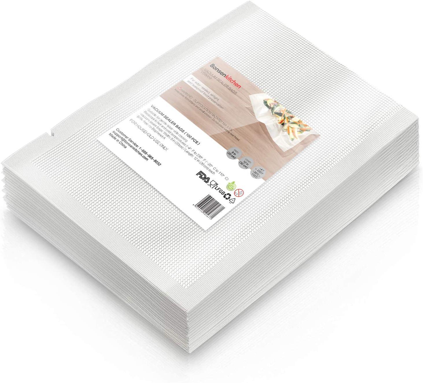 """Heavy Duty Vacuum Sealer Bags For Food, 100 Quart 8"""" x 12"""" Food Saver Bag for FoodSaver, Seal a Meal, Geryon Vacuum Machine, Commercial Grade, BPA Free Vacuum Seal Bag Perfect for Sous Vide"""