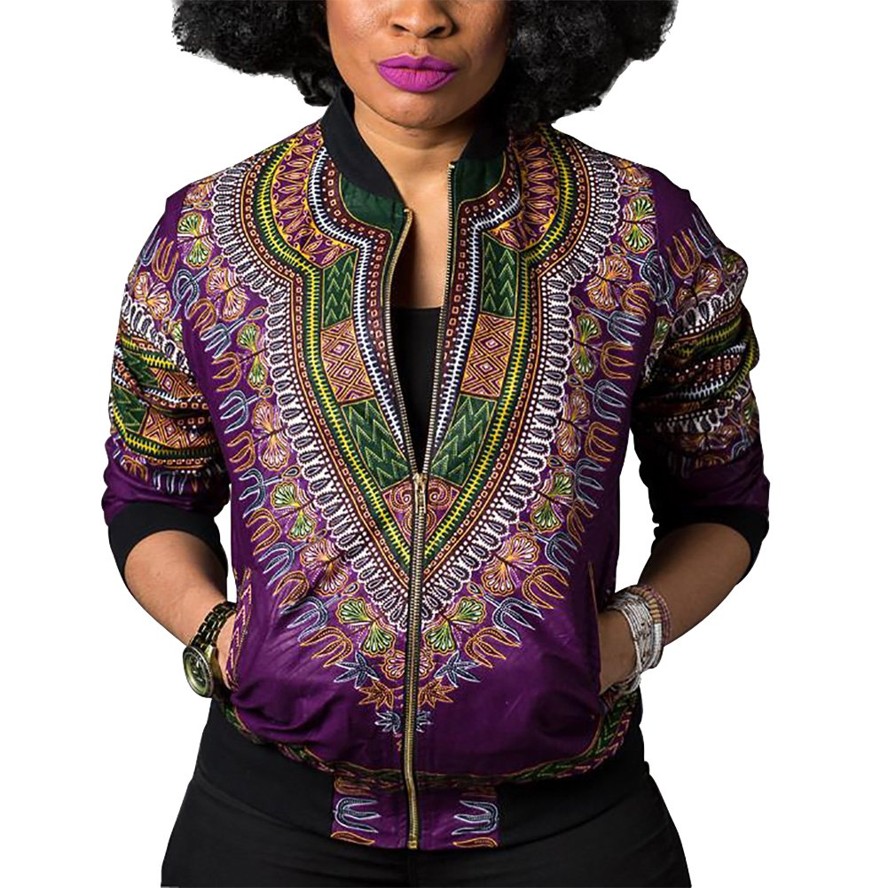 Women's Casual African Print Zipper Dashiki Short Bomber Jacket Coat with Pockets Purple XL