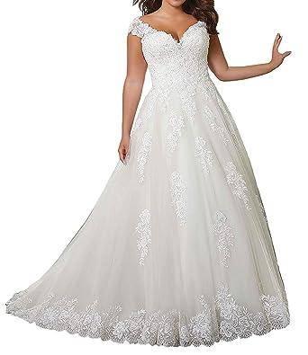 rationelle Konstruktion bester Großhändler spätester Verkauf V-Ausschnitt Brautkleider Hochzeitskleider Große Größen Spitze Damen  Hochzeitskleid A-Linie