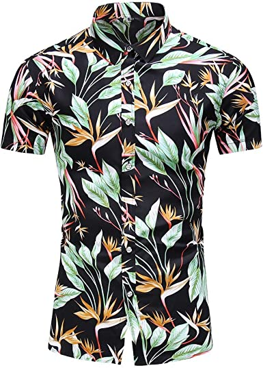 LANSKIRT Camisa Hawaiana Hombre Camisa de Botones Tops Manga Corta ...