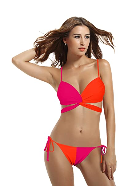 7dcf6dd585 zeraca Women s Wrap Halter Criss Cross Bikini Bathing Suits  Amazon ...