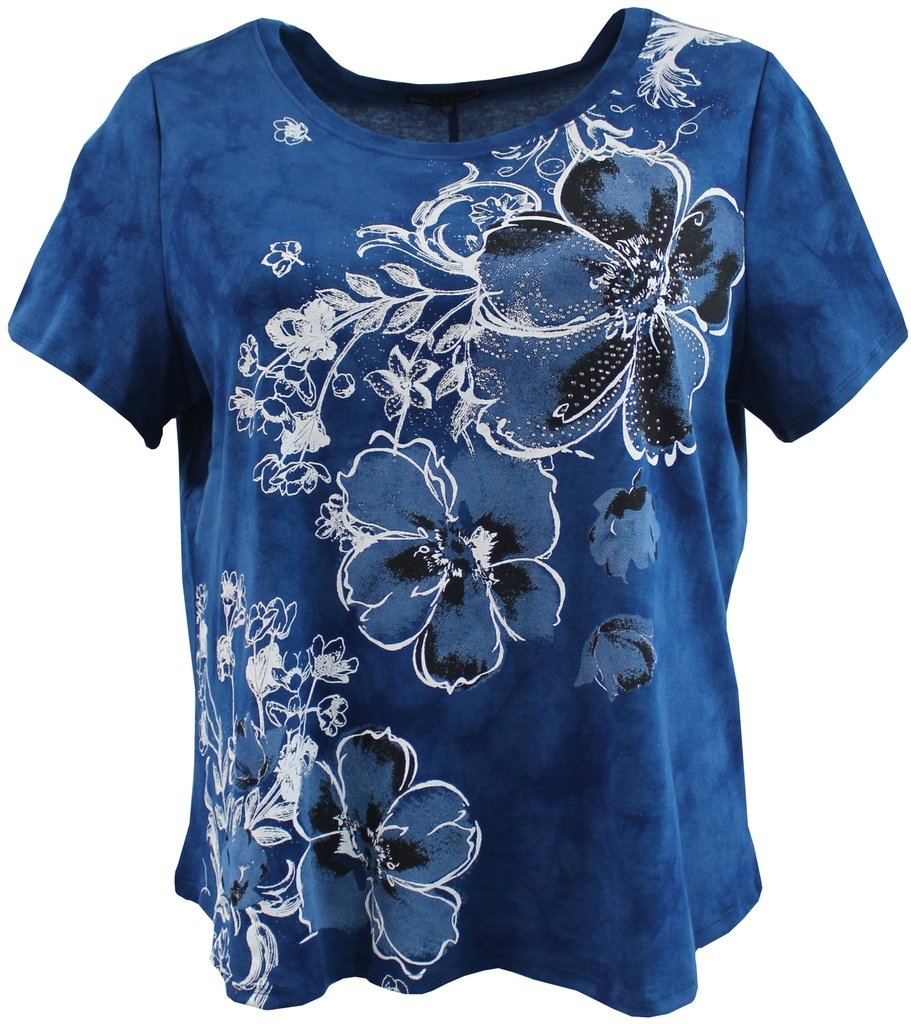 BNY Corner Women's Plus-Size Tie Dye Floral Rhinestone Design Fashion Blouse Tee Shirt Top Medium Blue 2X G160.48L